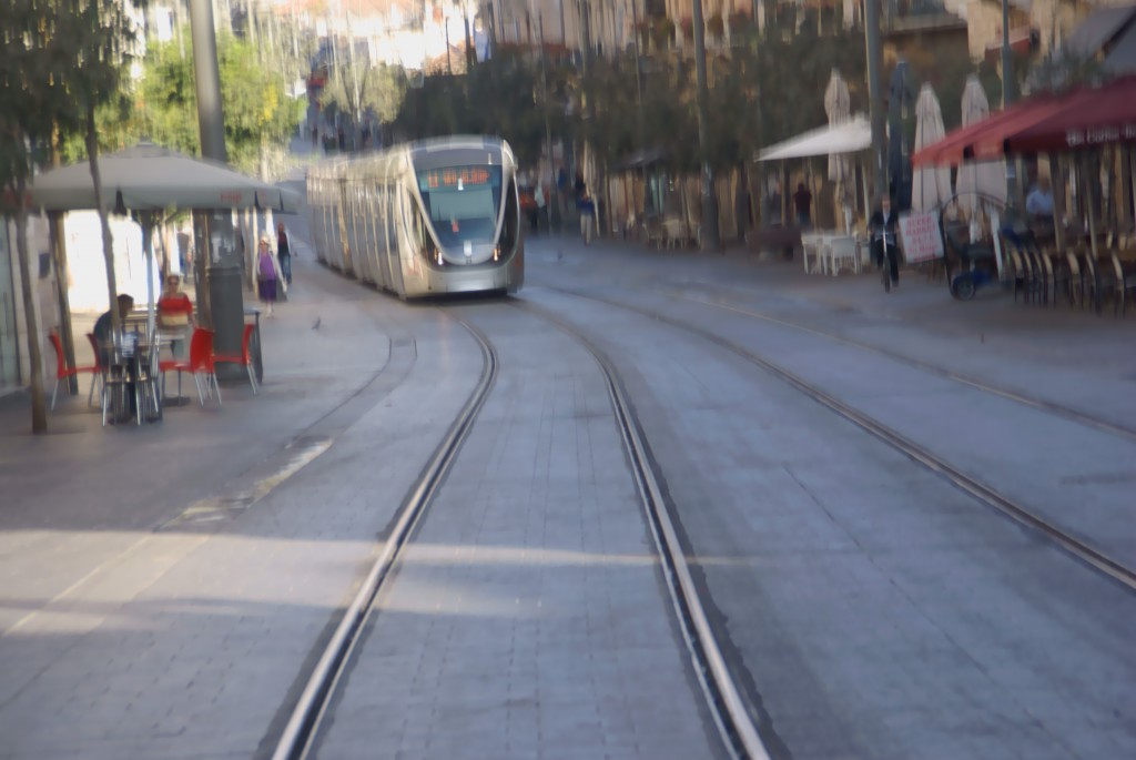 Light rail train on Yaffa Road
