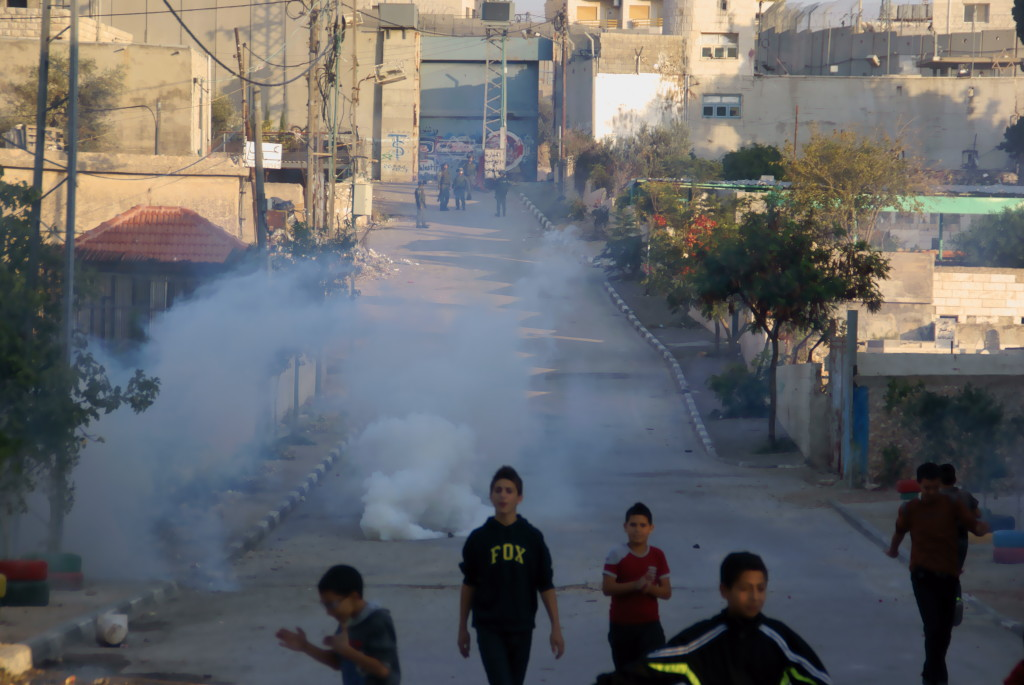 Children Walking Away from Israeli Gassing - Aida Refugee Camp