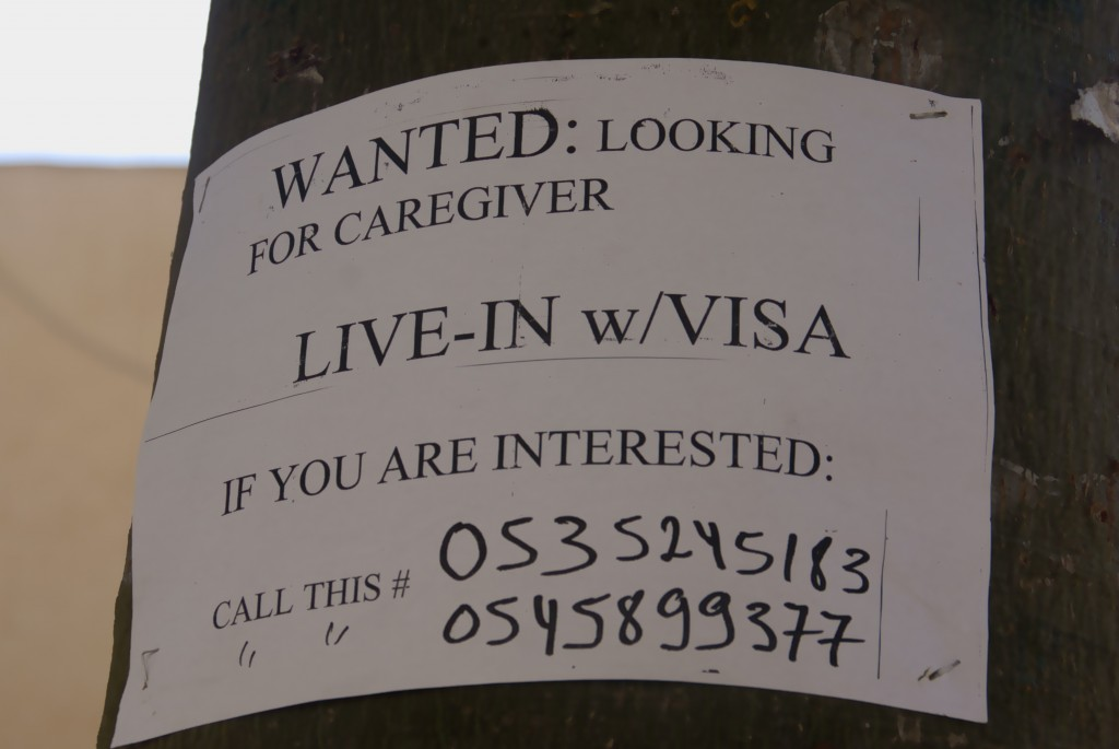 Sign on post: Looking for caregiver